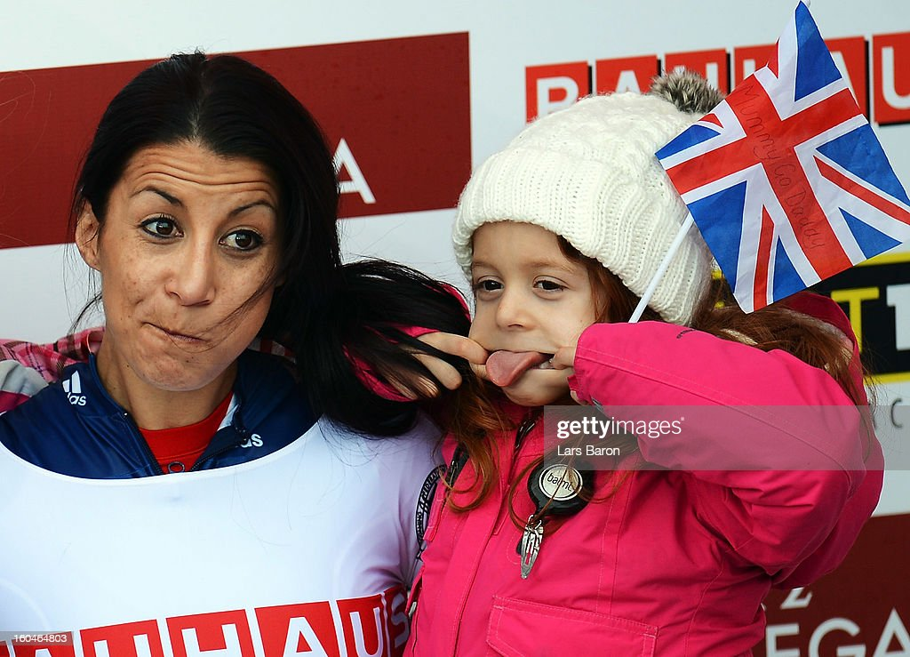 <a gi-track='captionPersonalityLinkClicked' href=/galleries/search?phrase=Shelley+Rudman&family=editorial&specificpeople=722346 ng-click='$event.stopPropagation()'>Shelley Rudman</a> of Great Britain celebrates with her daughter Elli after winning the women's skeleton final heat of the IBSF Bob & Skeleton World Championship at Olympia Bob Run on February 1, 2013 in St Moritz, Switzerland.