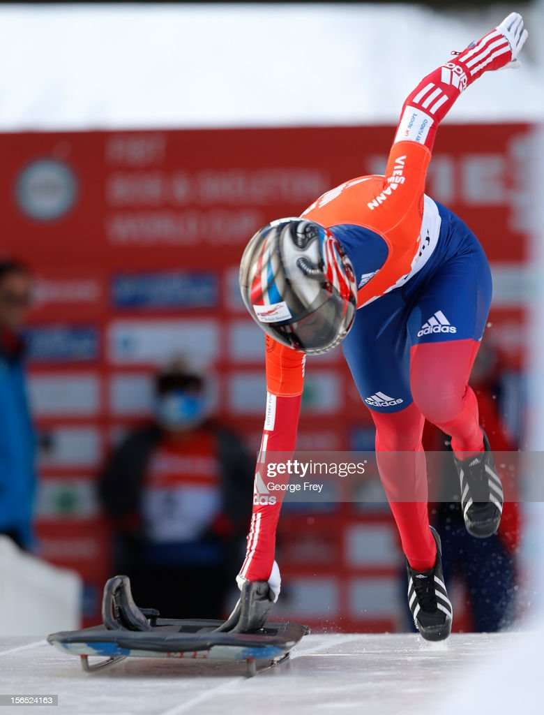 Shelley Rudman of Great Britain finishes tied for fifth place in the FIBT women's skeleton world cup heat 1, on November 16, 2012 at Utah Olympic Park in Park City, Utah.