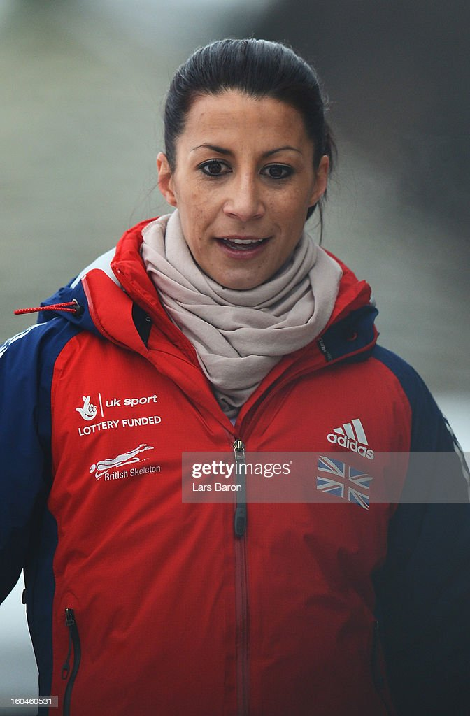Shelley Rudman of Great Britain looks on after the women's skeleton third heat of the IBSF Bob & Skeleton World Championship at Olympia Bob Run on February 1, 2013 in St Moritz, Switzerland.