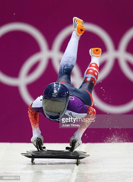 Shelley Rudman of Great Britain makes a run during a Women's Skeleton training session on Day 4 of the Sochi 2014 Winter Olympics at the Sanki...