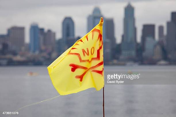 ShellNo flag flies during a ShellNo flotilla demonstration against Royal Dutch Shell on the waters of Puget Sound on May 16 2015 in Seattle...