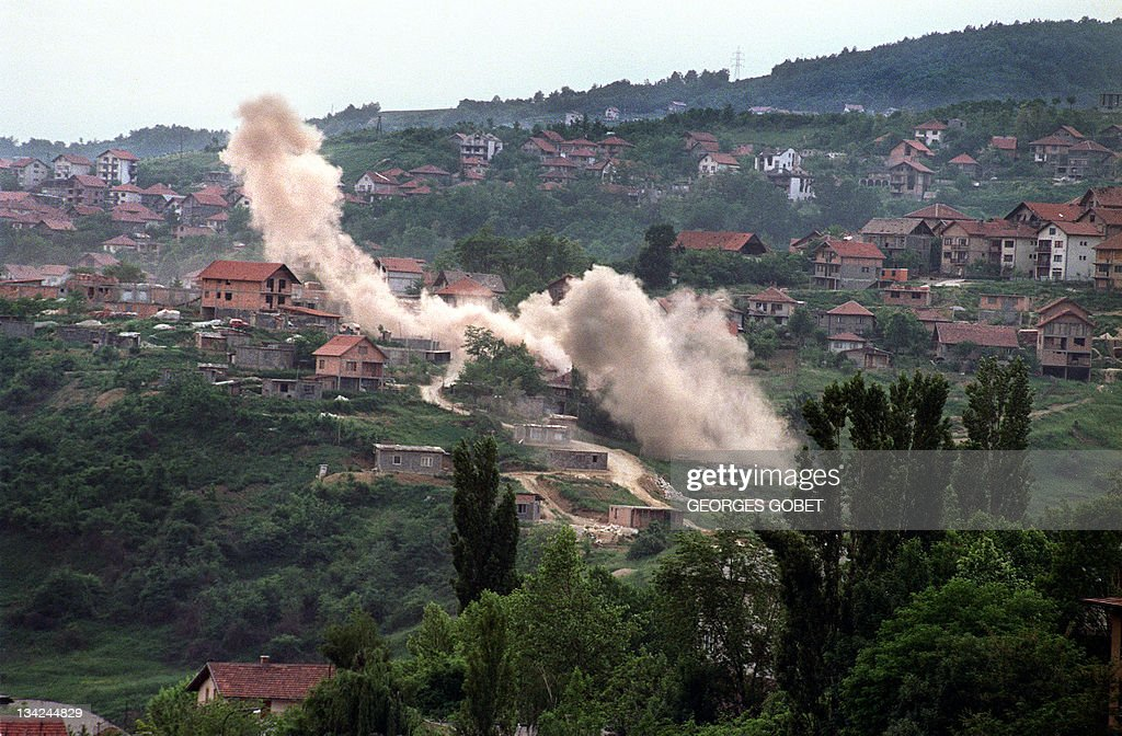 Shells hit houses in the suburbs of Sarajevo on June 6 1992 Heavy shelling and fighting raged throughout the Bosnian capital overnight after a UN...