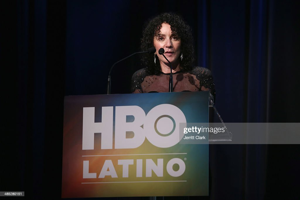 Shelly Brown of the Milagro Foundation speaks at the HBO Latino NYC Premiere of 'Santana: De Corazon' at Hudson Theatre on April 16, 2014 in New York City.