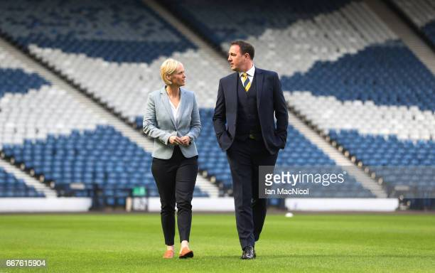 Shelly Kerr is seen with Malky MacKay currently Performance Director of the Scottish Football Association as she is unveiled as Scotland Women's...