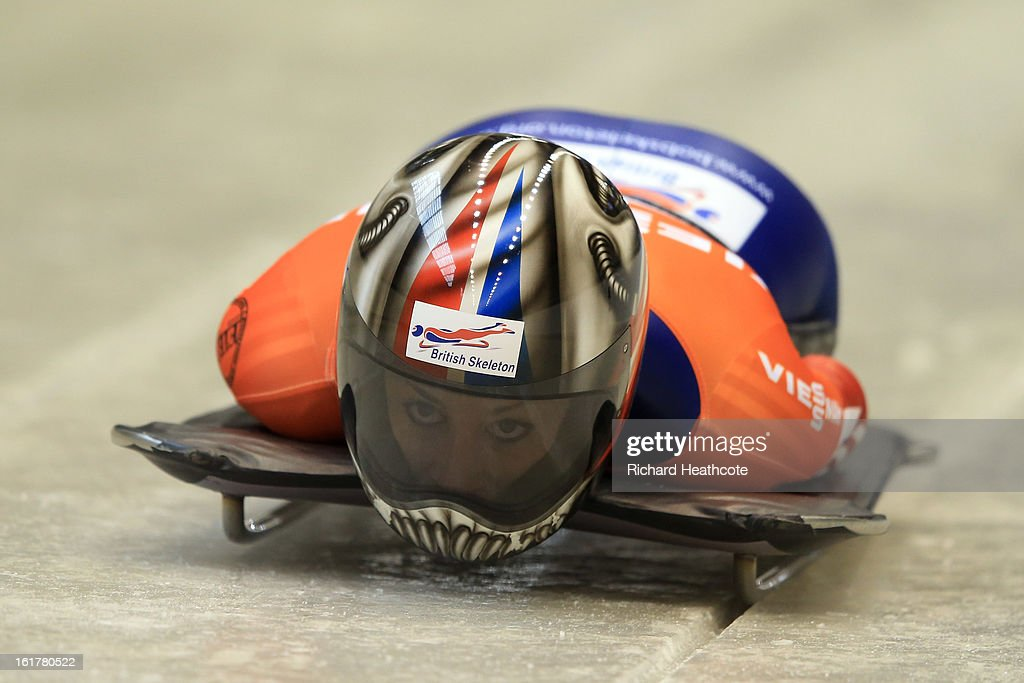 Shelly Rudman of Great Britian launches herself down the track during the Women's Skeleton Viessman FIBT Bob & Skeleton World Cup at the Sanki Sliding Center in Krasnya Polyana on February 16, 2013 in Sochi, Russia. Sochi is preparing for the 2014 Winter Olympics with test events across the venues.