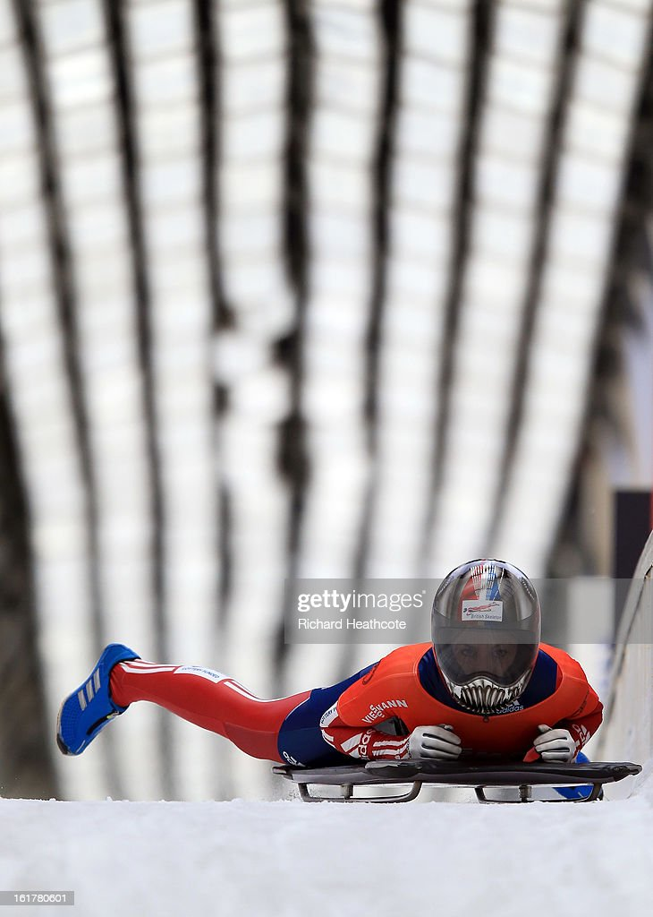 Shelly Rudman of Great Britian slides up to the finish during the Women's Skeleton Viessman FIBT Bob & Skeleton World Cup at the Sanki Sliding Center in Krasnya Polyana on February 16, 2013 in Sochi, Russia. Sochi is preparing for the 2014 Winter Olympics with test events across the venues.
