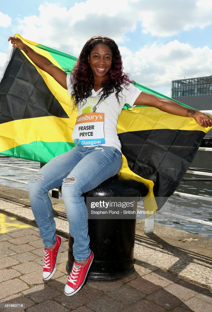 <a gi-track='captionPersonalityLinkClicked' href=/galleries/search?phrase=Shelly-Ann+Fraser&family=editorial&specificpeople=5493833 ng-click='$event.stopPropagation()'>Shelly-Ann Fraser</a>-Pryce of Jamacia during a photocall ahead of the Sainsbury's Glasgow Grand Prix on July 10, 2014 in Glasgow, Scotland.