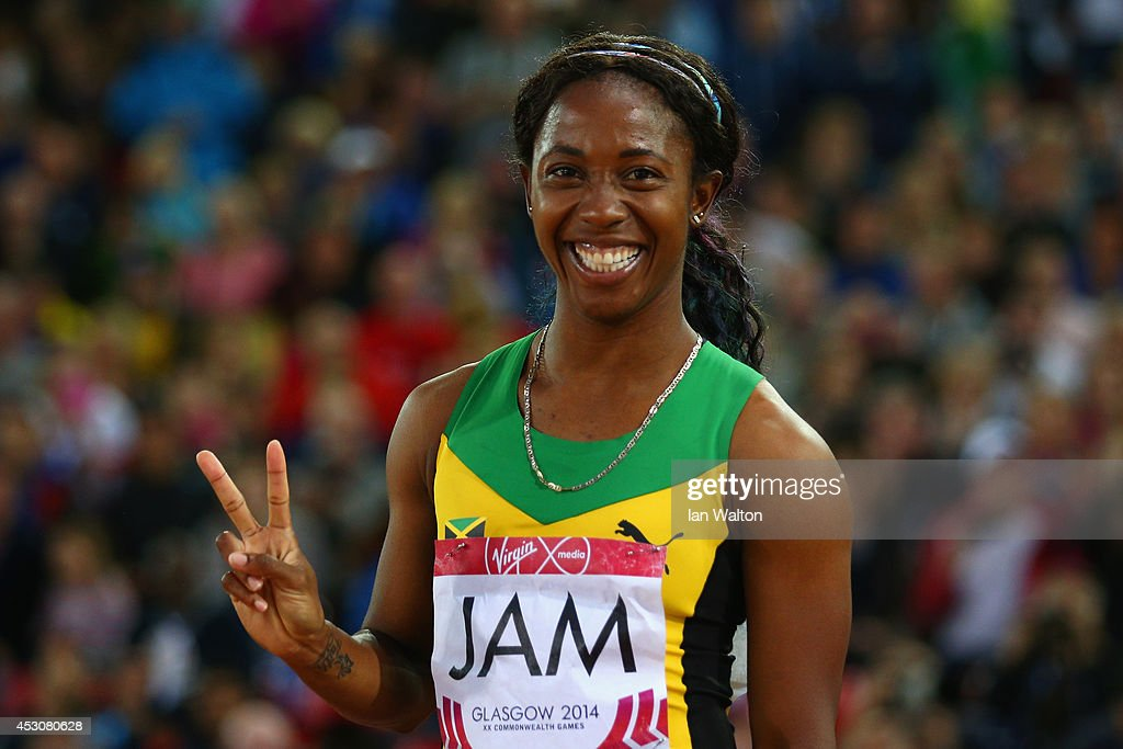 Shelly-ann Fraser-Pryce of Jamaica ceelbrates winning gold in the Women's 4x100 metres relay final at Hampden Park during day ten of the Glasgow 2014 Commonwealth Games on August 2, 2014 in Glasgow, United Kingdom.