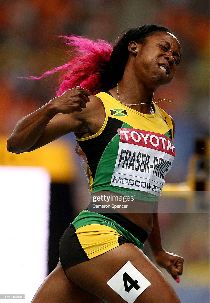 <a gi-track='captionPersonalityLinkClicked' href=/galleries/search?phrase=Shelly-Ann+Fraser&family=editorial&specificpeople=5493833 ng-click='$event.stopPropagation()'>Shelly-Ann Fraser</a>-Pryce of Jamaica celebrates winning gold in the Women's 100 metres final during Day Three of the 14th IAAF World Athletics Championships Moscow 2013 at Luzhniki Stadium on August 12, 2013 in Moscow, Russia.