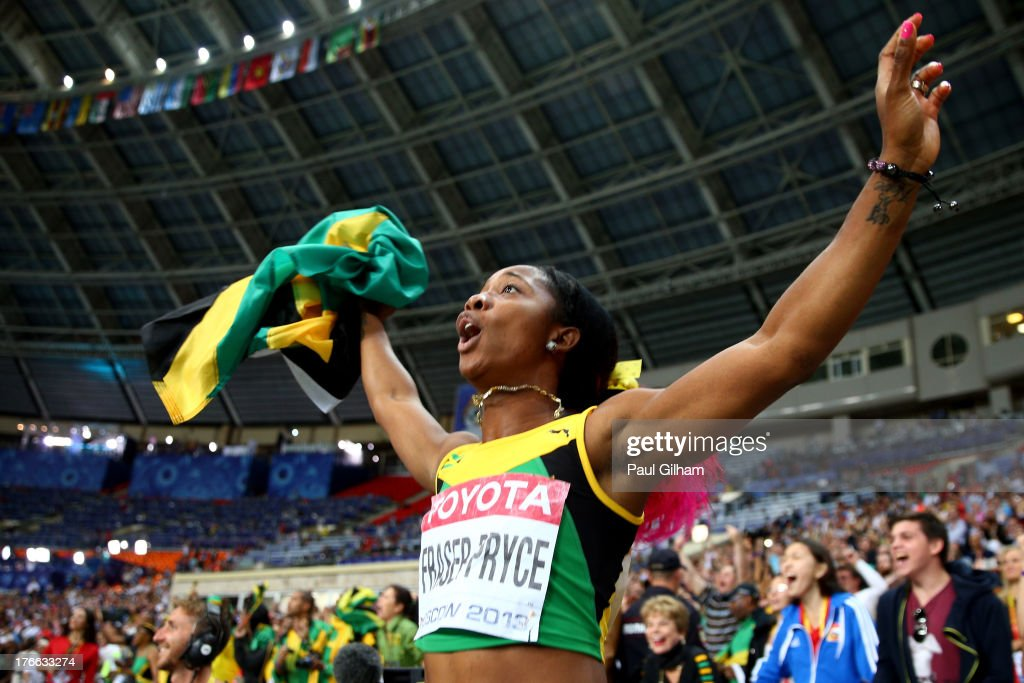 Shelly-Ann Fraser-Pryce of Jamaica celebrates winning gold in the Women's 200 metres final during Day Seven of the 14th IAAF World Athletics Championships Moscow 2013 at Luzhniki Stadium at Luzhniki Stadium on August 16, 2013 in Moscow, Russia.