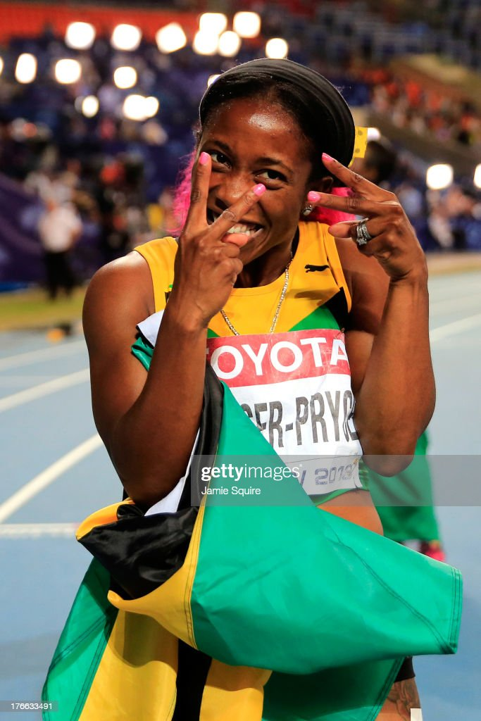 <a gi-track='captionPersonalityLinkClicked' href=/galleries/search?phrase=Shelly-Ann+Fraser&family=editorial&specificpeople=5493833 ng-click='$event.stopPropagation()'>Shelly-Ann Fraser</a>-Pryce of Jamaica celebrates winning gold in the Women's 200 metres final during Day Seven of the 14th IAAF World Athletics Championships Moscow 2013 at Luzhniki Stadium at Luzhniki Stadium on August 16, 2013 in Moscow, Russia.