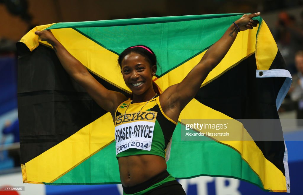<a gi-track='captionPersonalityLinkClicked' href=/galleries/search?phrase=Shelly-Ann+Fraser&family=editorial&specificpeople=5493833 ng-click='$event.stopPropagation()'>Shelly-Ann Fraser</a>-Pryce of Jamaica celebrates winning the gold medal in the Women's 60m final during day three of the IAAF World Indoor Championships at Ergo Arena on March 9, 2014 in Sopot, Poland.