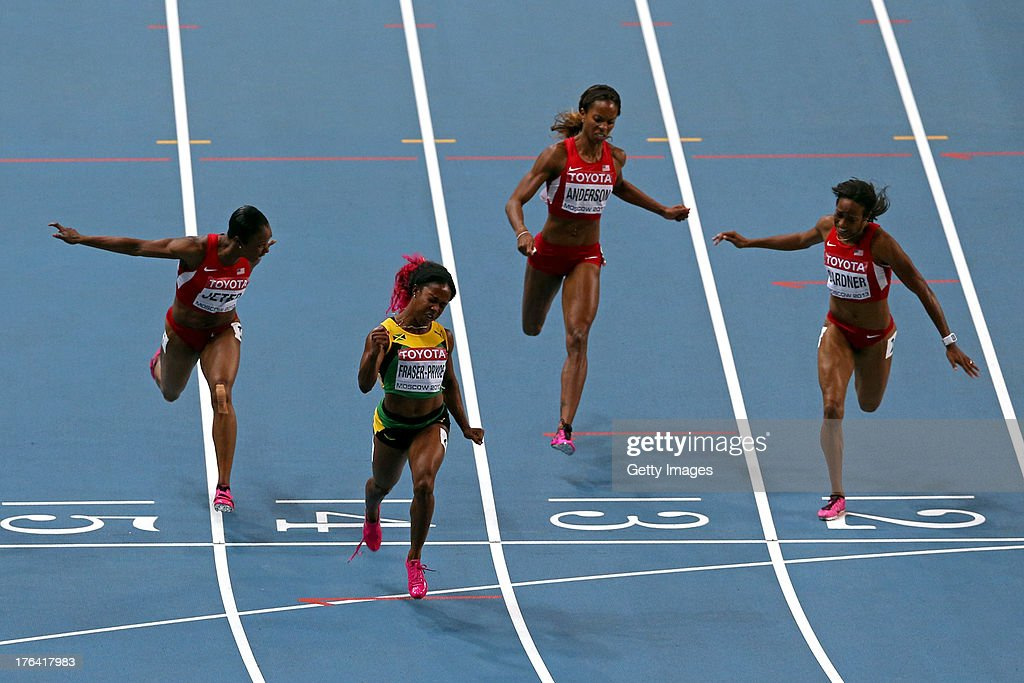 <a gi-track='captionPersonalityLinkClicked' href=/galleries/search?phrase=Shelly-Ann+Fraser&family=editorial&specificpeople=5493833 ng-click='$event.stopPropagation()'>Shelly-Ann Fraser</a>-Pryce of Jamaica crosses the line to win gold ahead of (L-R) <a gi-track='captionPersonalityLinkClicked' href=/galleries/search?phrase=Carmelita+Jeter&family=editorial&specificpeople=4472760 ng-click='$event.stopPropagation()'>Carmelita Jeter</a> of the United States, <a gi-track='captionPersonalityLinkClicked' href=/galleries/search?phrase=Alexandria+Anderson&family=editorial&specificpeople=2131266 ng-click='$event.stopPropagation()'>Alexandria Anderson</a> of the United States and <a gi-track='captionPersonalityLinkClicked' href=/galleries/search?phrase=English+Gardner&family=editorial&specificpeople=9490668 ng-click='$event.stopPropagation()'>English Gardner</a> of the United States in the Women's 100 metres final during Day Three of the 14th IAAF World Athletics Championships Moscow 2013 at Luzhniki Stadium on August 12, 2013 in Moscow, Russia.