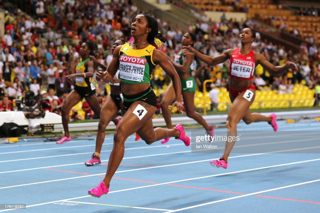 <a gi-track='captionPersonalityLinkClicked' href=/galleries/search?phrase=Shelly-Ann+Fraser&family=editorial&specificpeople=5493833 ng-click='$event.stopPropagation()'>Shelly-Ann Fraser</a>-Pryce of Jamaica crosses the line to win gold in the Women's 100 metres final during Day Three of the 14th IAAF World Athletics Championships Moscow 2013 at Luzhniki Stadium on August 12, 2013 in Moscow, Russia.