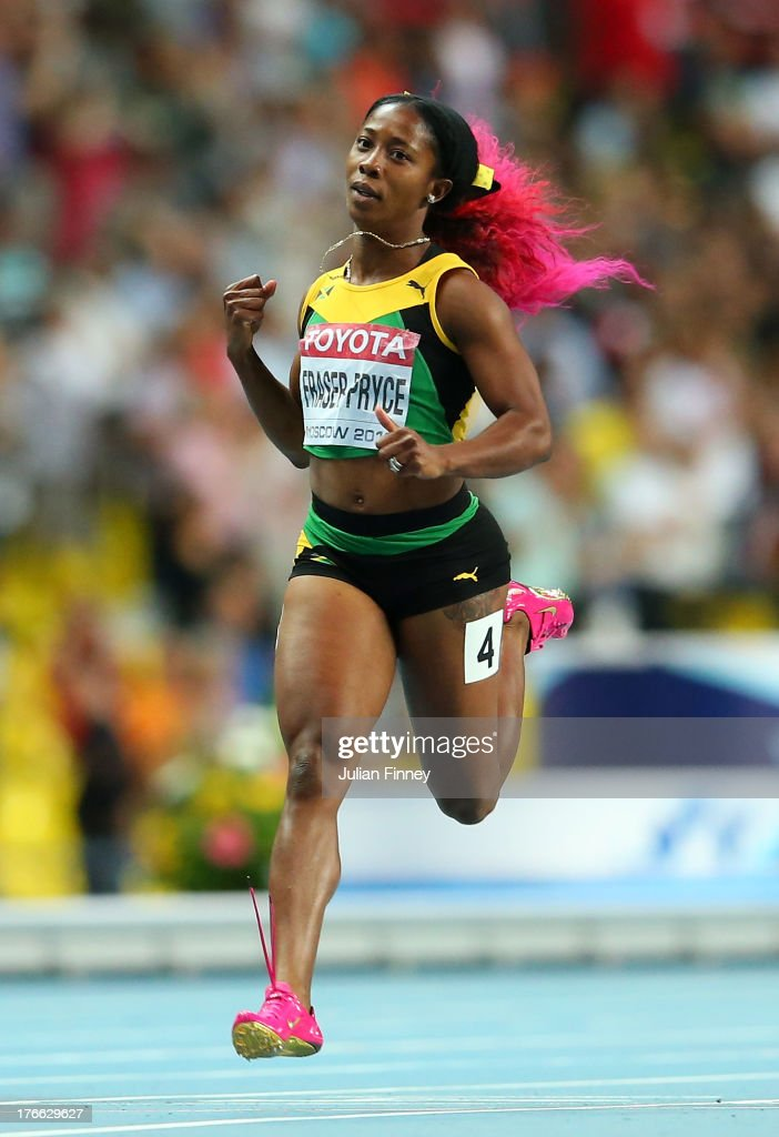<a gi-track='captionPersonalityLinkClicked' href=/galleries/search?phrase=Shelly-Ann+Fraser&family=editorial&specificpeople=5493833 ng-click='$event.stopPropagation()'>Shelly-Ann Fraser</a>-Pryce of Jamaica crosses the line to win gold in the Women's 200 metres final during Day Seven of the 14th IAAF World Athletics Championships Moscow 2013 at Luzhniki Stadium at Luzhniki Stadium on August 16, 2013 in Moscow, Russia.