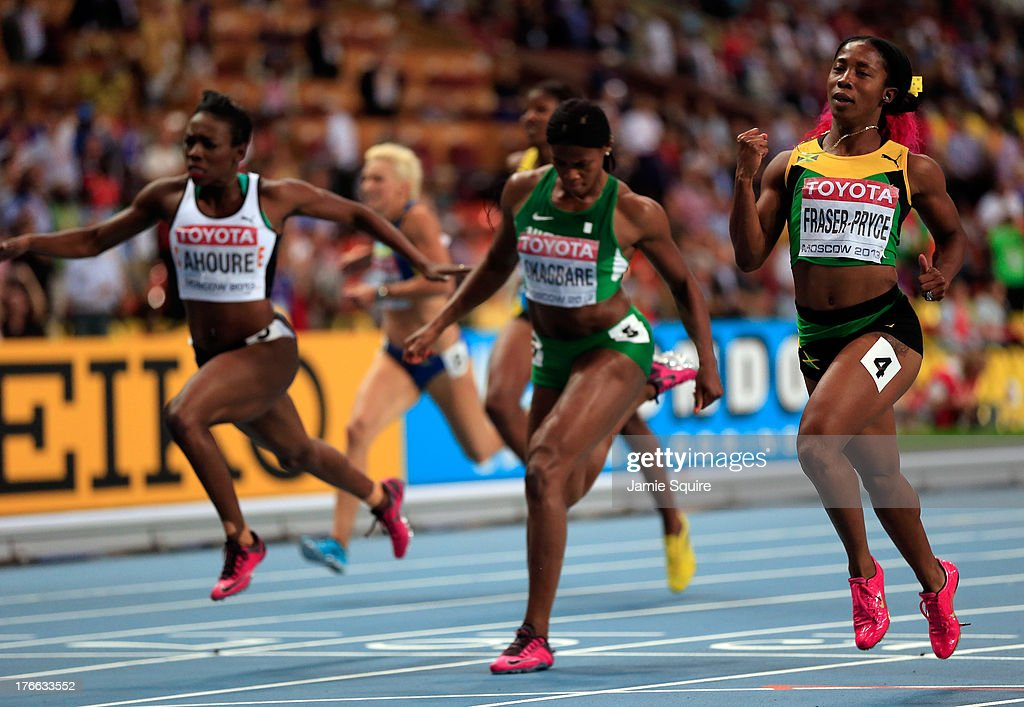 Shelly-Ann Fraser-Pryce of Jamaica crosses the line to win gold in the Women's 200 metres final during Day Seven of the 14th IAAF World Athletics Championships Moscow 2013 at Luzhniki Stadium at Luzhniki Stadium on August 16, 2013 in Moscow, Russia.