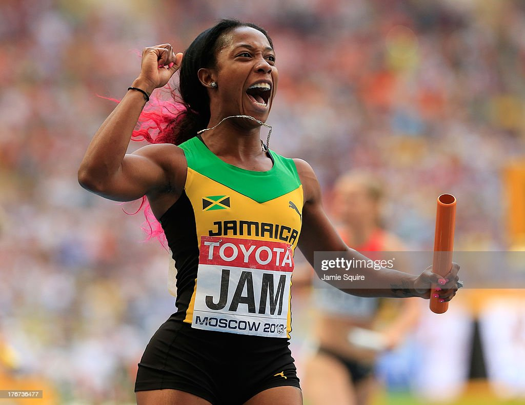 <a gi-track='captionPersonalityLinkClicked' href=/galleries/search?phrase=Shelly-Ann+Fraser&family=editorial&specificpeople=5493833 ng-click='$event.stopPropagation()'>Shelly-Ann Fraser</a>-Pryce of Jamaica crosses the line to win gold the Women's 4x100 metres final during Day Nine of the 14th IAAF World Athletics Championships Moscow 2013 at Luzhniki Stadium on August 18, 2013 in Moscow, Russia.