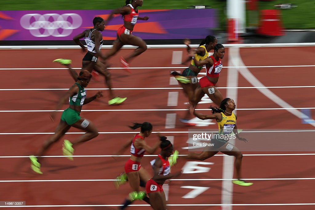 <a gi-track='captionPersonalityLinkClicked' href=/galleries/search?phrase=Shelly-Ann+Fraser&family=editorial&specificpeople=5493833 ng-click='$event.stopPropagation()'>Shelly-Ann Fraser</a>-Pryce of Jamaica crosses the line to win the gold in the Women's 100m Final on Day 8 of the London 2012 Olympic Games at Olympic Stadium on August 4, 2012 in London, England.