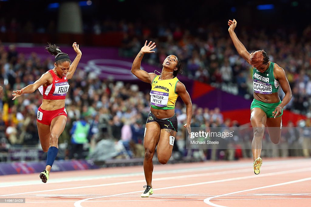 <a gi-track='captionPersonalityLinkClicked' href=/galleries/search?phrase=Shelly-Ann+Fraser&family=editorial&specificpeople=5493833 ng-click='$event.stopPropagation()'>Shelly-Ann Fraser</a>-Pryce of Jamaica crosses the line to win the gold ahead of <a gi-track='captionPersonalityLinkClicked' href=/galleries/search?phrase=Allyson+Felix&family=editorial&specificpeople=213459 ng-click='$event.stopPropagation()'>Allyson Felix</a> of the United States (L) and <a gi-track='captionPersonalityLinkClicked' href=/galleries/search?phrase=Blessing+Okagbare&family=editorial&specificpeople=5496695 ng-click='$event.stopPropagation()'>Blessing Okagbare</a> of Nigeria (R) in the Women's 100m Final on Day 8 of the London 2012 Olympic Games at Olympic Stadium on August 4, 2012 in London, England.