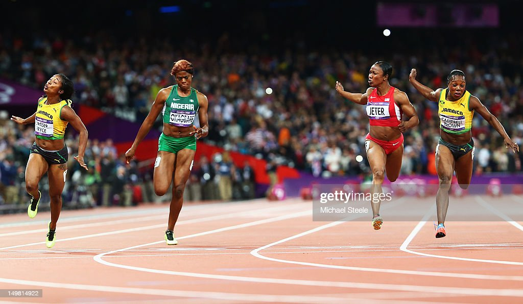 <a gi-track='captionPersonalityLinkClicked' href=/galleries/search?phrase=Shelly-Ann+Fraser&family=editorial&specificpeople=5493833 ng-click='$event.stopPropagation()'>Shelly-Ann Fraser</a>-Pryce of Jamaica crosses the line to win the gold ahead of <a gi-track='captionPersonalityLinkClicked' href=/galleries/search?phrase=Blessing+Okagbare&family=editorial&specificpeople=5496695 ng-click='$event.stopPropagation()'>Blessing Okagbare</a> of Nigeria, silver medalist <a gi-track='captionPersonalityLinkClicked' href=/galleries/search?phrase=Carmelita+Jeter&family=editorial&specificpeople=4472760 ng-click='$event.stopPropagation()'>Carmelita Jeter</a> of the United States and bronze medlaist <a gi-track='captionPersonalityLinkClicked' href=/galleries/search?phrase=Veronica+Campbell-Brown&family=editorial&specificpeople=4861760 ng-click='$event.stopPropagation()'>Veronica Campbell-Brown</a> of Jamaica in the Women's 100m Final on Day 8 of the London 2012 Olympic Games at Olympic Stadium on August 4, 2012 in London, England.
