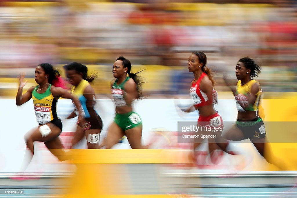 <a gi-track='captionPersonalityLinkClicked' href=/galleries/search?phrase=Shelly-Ann+Fraser&family=editorial&specificpeople=5493833 ng-click='$event.stopPropagation()'>Shelly-Ann Fraser</a>-Pryce of Jamaica leads the field in the Women's 100 metres semi final during Day Three of the 14th IAAF World Athletics Championships Moscow 2013 at Luzhniki Stadium on August 12, 2013 in Moscow, Russia.