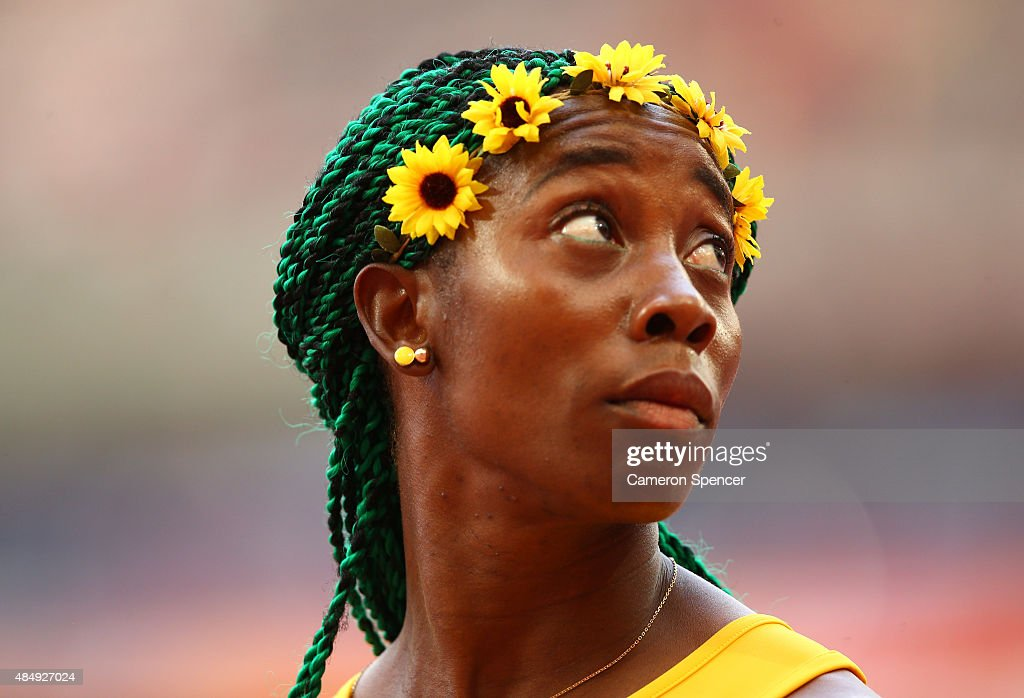 <a gi-track='captionPersonalityLinkClicked' href=/galleries/search?phrase=Shelly-Ann+Fraser&family=editorial&specificpeople=5493833 ng-click='$event.stopPropagation()'>Shelly-Ann Fraser</a>-Pryce of Jamaica looks on prior to competing in the Women's 100 metres heats during day two of the 15th IAAF World Athletics Championships Beijing 2015 at Beijing National Stadium on August 23, 2015 in Beijing, China.