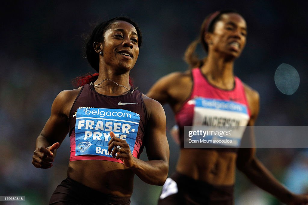 <a gi-track='captionPersonalityLinkClicked' href=/galleries/search?phrase=Shelly-Ann+Fraser&family=editorial&specificpeople=5493833 ng-click='$event.stopPropagation()'>Shelly-Ann Fraser</a>-Pryce of Jamaica wins the Womens 100m during the 2013 Belgacom Memorial Van Damme IAAF Diamond League meet at The King Baudouin Stadium on September 6, 2013 in Brussels, Belgium.