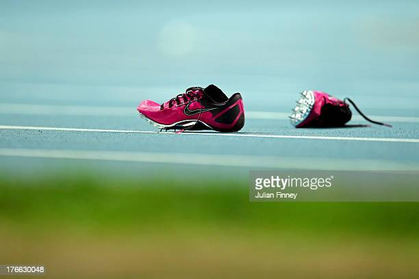 ShellyAnn FraserPryce of Jamaica's running shoes are seen on the track after the Women's 200 metres final during Day Seven of the 14th IAAF World...