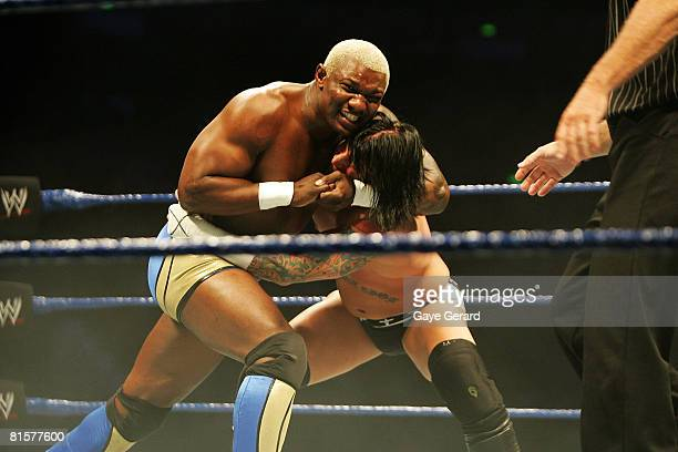 Shelton Benjamin puts CM Punk into a headlock during WWE Smackdown at Acer Arena on June 15 2008 in Sydney Australia