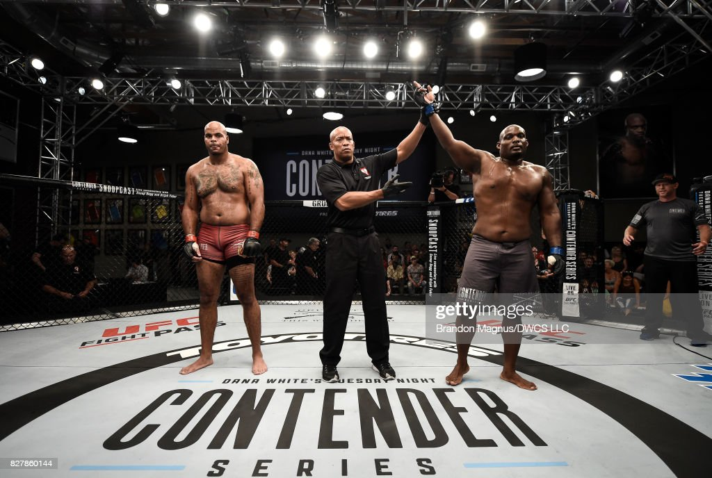Shelton Graves celebrates his TKO victory over Everett Sims in their heavyweight bout during Dana White's Tuesday Night Contender Series at the TUF Gym on August 8, 2017 in Las Vegas, Nevada.