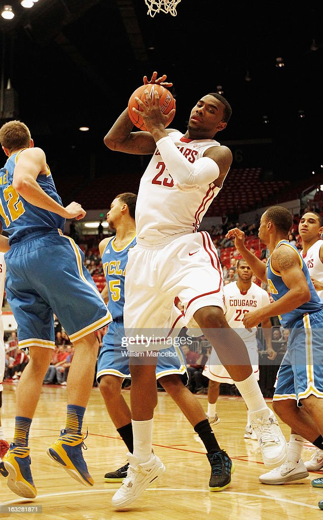 D.J. Shelton #23 of the Washington State Cougars pulls down a rebound against the UCLA Bruins during the game at Beasley Coliseum on March 6, 2013 in Pullman, Washington.