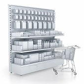 Shelves in a supermarket filled with faceless goods. And a shopping trolley. 3d image isolated on white