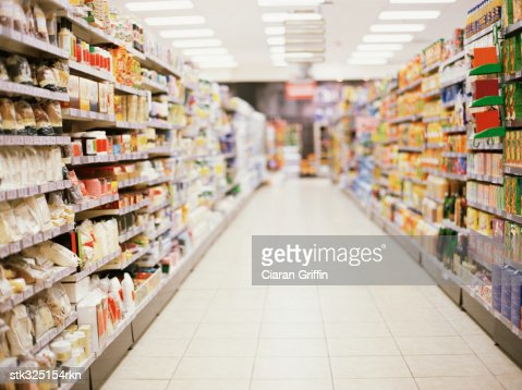 shelves in a supermarket : Stock Photo