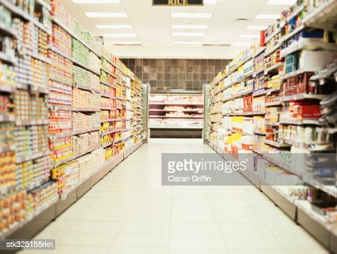 shelves in a supermarket