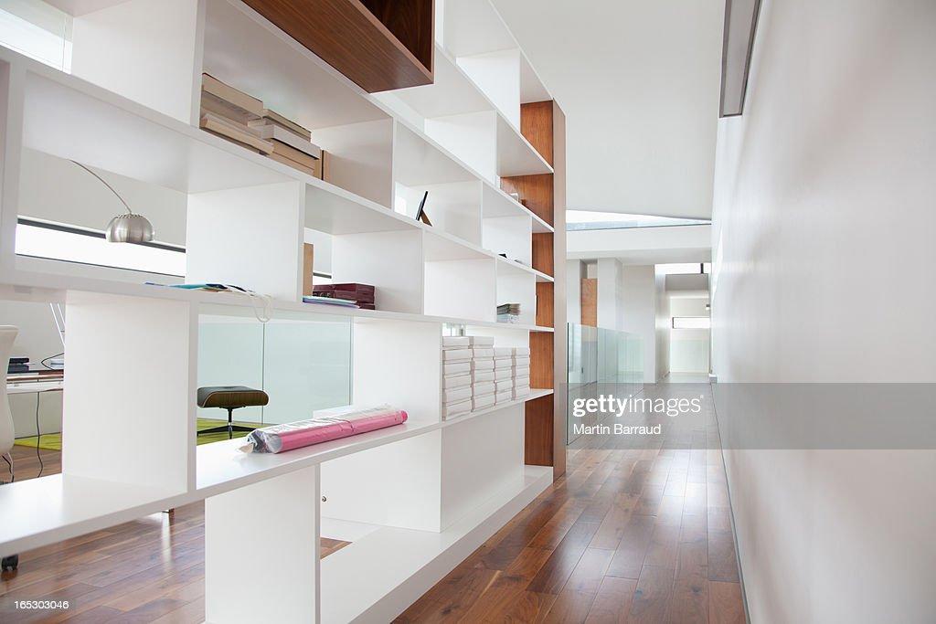 Shelves in modern house : Stock Photo
