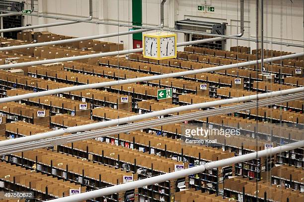 Shelves lined with goods at an Amazon warehouse on November 17 2015 in Brieselang Germany Germany is online retailer Amazon's second largest market...