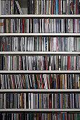Shelves of CDs