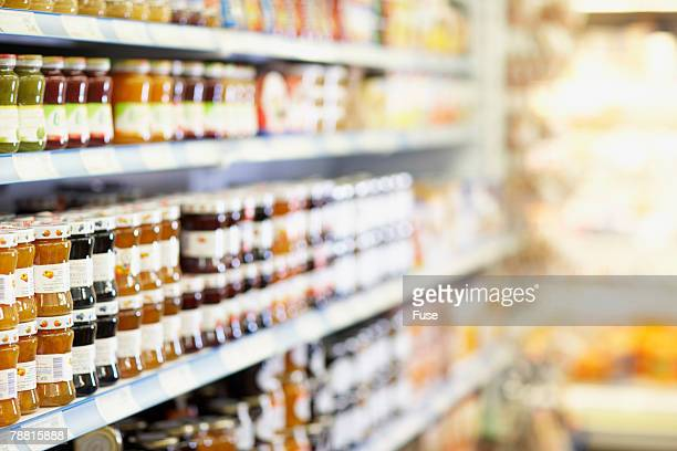 Shelves of Food in Grocery Store
