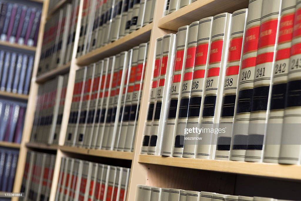 Shelves of Legal Books in Law Library : Stock Photo