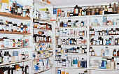 Shelves of medicines