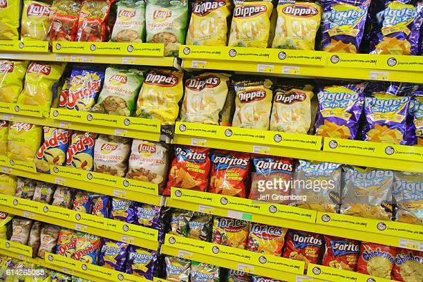 Shelves of potato chips in Metro Supermarket Avenida Miguel Grau