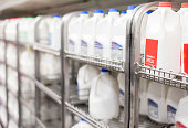 rows of milk selection in grocery store filling frame.