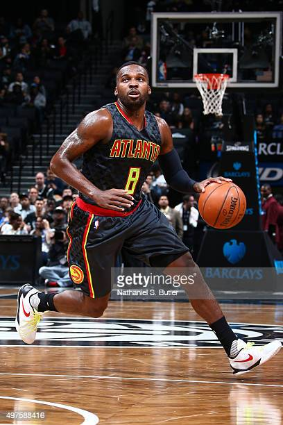 Shelvin Mack of the Atlanta Hawks drives to the basket against the Brooklyn Nets during the game on NOVEMBER 17 2015 at Barclays Center in Brooklyn...