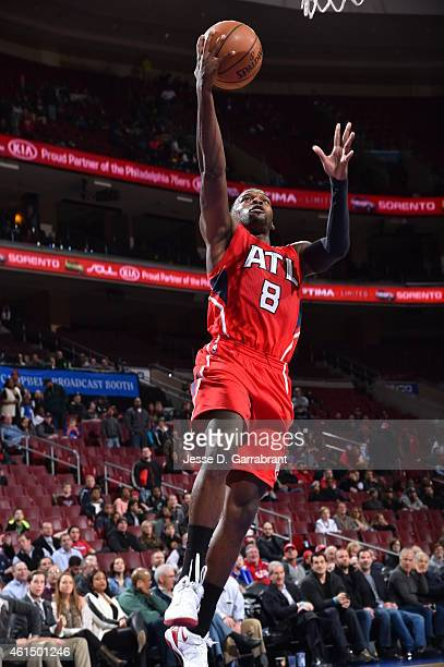 Shelvin Mack of the Atlanta Hawks goes up for the layup against the Philadelphia 76ers at Wells Fargo Center on January 13 2015 in Philadelphia...