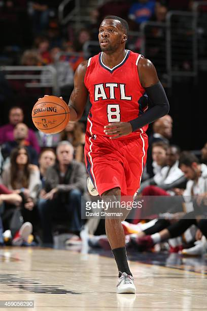 Shelvin Mack of the Atlanta Hawks handles the ball against the Cleveland Cavaliers on November 15 2014 at Quicken Loans Arena in Cleveland Ohio NOTE...