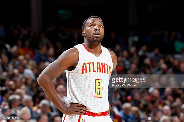 Shelvin Mack of the Atlanta Hawks looks on during the game against the Cleveland Cavaliers on November 21 2015 at Quicken Loans Arena in Cleveland...