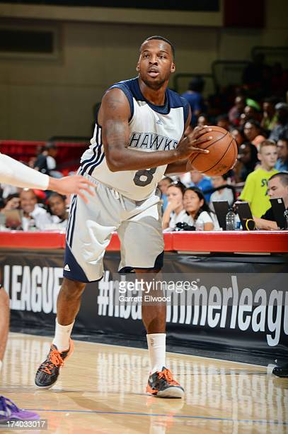 Shelvin Mack of the Atlanta Hawks passes the ball versus the Sacramento Kings during NBA Summer League on July 19 2013 at the Cox Pavilion in Las...