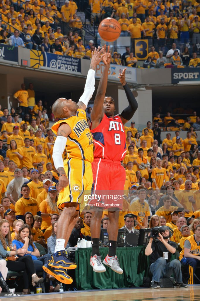 Shelvin Mack #8 of the Atlanta Hawks shoots against the Indiana Pacers in Game Seven of the Eastern Conference Quarterfinals during the 2014 NBA Playoffs on May 3, 2014 at Bankers Life Fieldhouse in Indianapolis, Indiana.