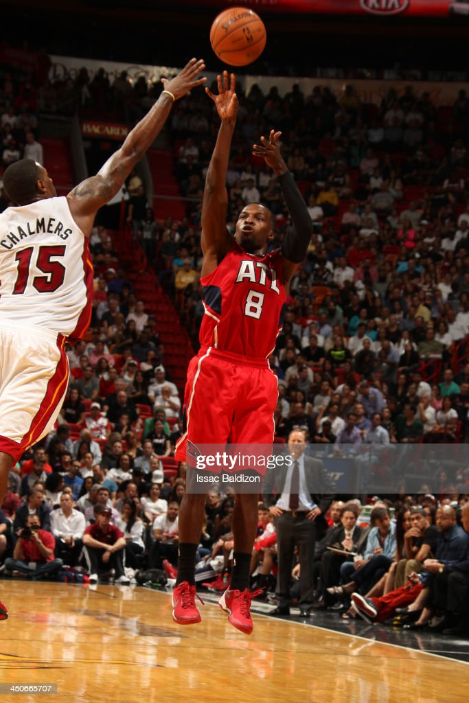 <a gi-track='captionPersonalityLinkClicked' href=/galleries/search?phrase=Shelvin+Mack&family=editorial&specificpeople=5767272 ng-click='$event.stopPropagation()'>Shelvin Mack</a> #8 of the Atlanta Hawks shoots against the Miami Heat on November 19, 2013 at American Airlines Arena in Miami, Florida.