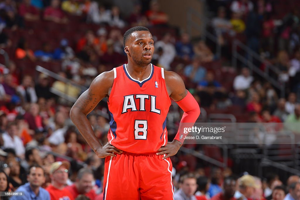 <a gi-track='captionPersonalityLinkClicked' href=/galleries/search?phrase=Shelvin+Mack&family=editorial&specificpeople=5767272 ng-click='$event.stopPropagation()'>Shelvin Mack</a> #8 of the Atlanta Hawks stands on the court during the game against the Philadelphia 76ers at the Wells Fargo Center on April 10, 2013 in Philadelphia, Pennsylvania.